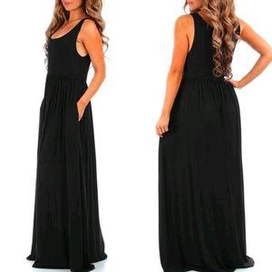 women's black maxi dress with pockets